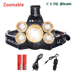 16000LM CREE T6 + 4 * XPE LED faro 5LEDs faro impermeable lámpara Zoomable luz 18650 batería cargador USB equitación caza