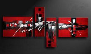 100% El Yapımı Kırmızı Siyah Beyaz Renkler Soyut Yağlıboya Tuval Wall Art 4 Parça Resim Ev Otel Bar Cafe Için
