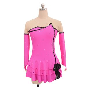 Latest Fashion Female Competition Dress With Beads Finger Length Sleeves Beautiful Ice Skating Dress Custom Made