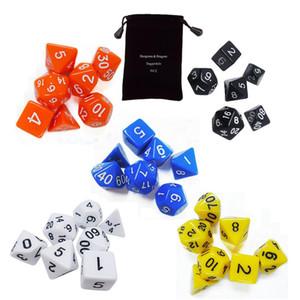 7pcs Set Dadi Polyedrici 20 colori Dungeons Dragons per DnD MTG RPG D4-D20 Poly Dadi Giochi da tavolo Gathering Toy con sacchetto di immagazzinaggio del sacchetto