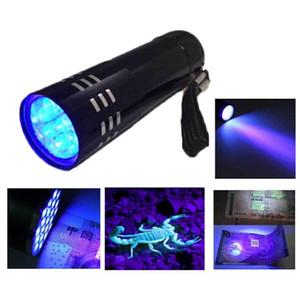 2015 새로운 미니 AlumMinum 자외선 울트라 바이올렛 9 LED 깜박임 BLACKLIGHT 토치 라이트 램프