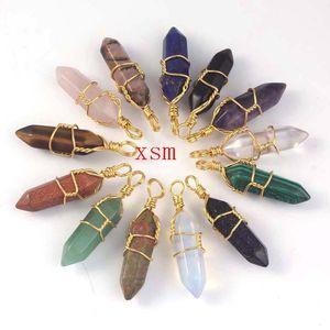 Free Shipping 10ps Amethyst&Rose Quartz Rock Crystal Hexagon Gem Stone Pendulum Healing Point Chakra Pendant Necklace For Women