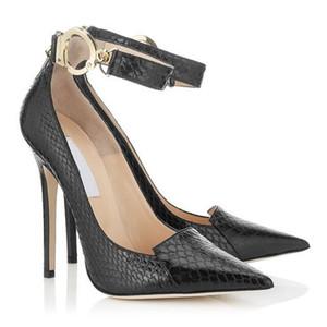 Mujeres de piel de serpiente sexy bombas zapatos de vestir negros talones delgados correa de dedo del pie puntiagudo t mostrar zapatos de las bombas femeninas para la fiesta de graduación