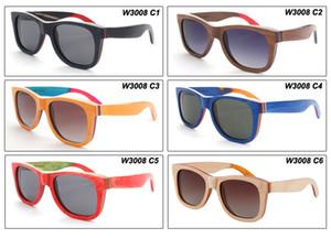 스케이트 보드 나무 선글라스 남자와 여자를위한 빈티지 목재 안경 순수 수동 선글라스 편광 선글라스 W3008 운전