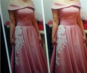 2015 Pink Long Evening Dresses Floor Length A-Line Bateau Neckline Satin Zipper Back Formal Evening Gowns