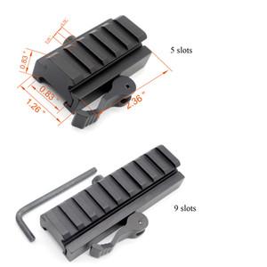 20 millimetri Picatinny / Weaver Rail Baese 5/9 slot QD Quick Release Riser Scope Mount Adapter Spedizione gratuita