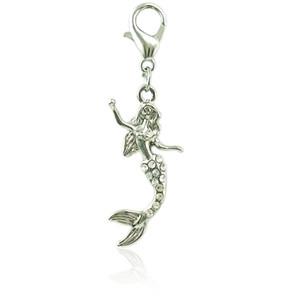 Classico Argento Placcato Galleggiante Catenaccio Charms Charms Ciondola White Rhinestone Mermaid Charms fai da te per la produzione di gioielli Accessori