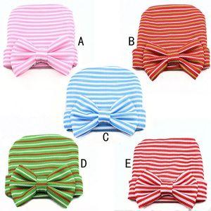 yeni bebek kız şapka yenidoğan kumaş moda çizgili kapaklar 2016 bebek kız tatlı şapka büyük yay Toddler kapaklar 5 renk seçin 20pcs / lot
