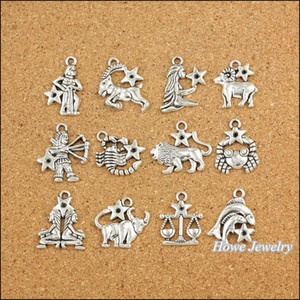 120 pcs Vintage Charmes Zodiac Pisces Pendentif Antique argent Fit Bracelets Collier DIY Métal Fabrication de Bijoux