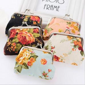 monederos Monederos de flores vintage monederos para mujeres señoras lienzo llavero billetera cerrojo pequeños regalos bolsa bolso de embrague regalo 2015