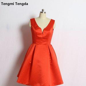 Vestidos de dama de honor cortos de la mancha roja de Mingli Tengda Vestidos de fiesta de boda con cuello en v por encargo Vestidos de dama de honor junior simples y elegantes 2018