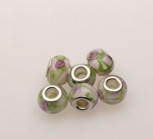 MIC 100pcs Серебряный ядро Целебные цветы Муранские стеклянные бусины Fit Charms Браслеты 14 x 10mm Ювелирные изделия DIY свободная перевозка груза (375)