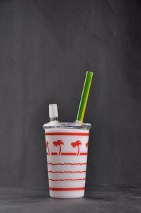 Горячие продажи оранжевые стеклянные бонги без купола Воск Нефть Дерево Кубок Starbuck нефтяной вышке стеклянные водопроводные трубы с 14 мм соединения