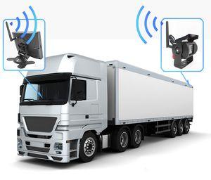 """100M 2.4 GHz vista posterior inalámbrica ca 7 """"800 * 480 LCD Car Monitor + cámara de copia de seguridad Cámara de visión trasera para camión Trailer Bus Parking Video System"""