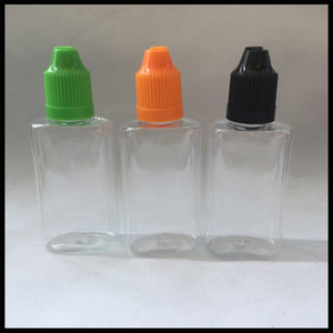 Bottiglia quadrata contagocce in PET da 30 ml per Vape E-succo di Eliquid con tappo a prova di bambino e bottiglia con sigaretta