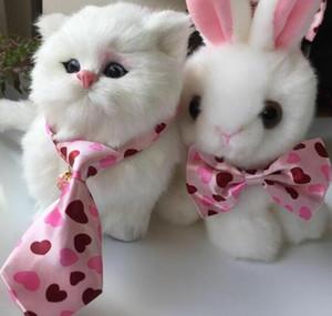 (100 pçs / lote) Hot sale Pet Dog filhote de cachorro Gato rosa Loveheart Bow Ties Suprimentos Grooming para a festa de casamento do feriado Valentine LY118