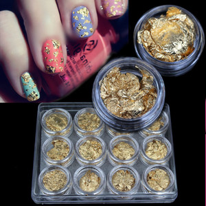 2015 New Supernova Vente DIY 3D Nail Art Décorations Feuille d'or Pour Gel UV Acrylique Nail Décoration 12pcs / Set