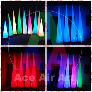 3m High Lighting Inflatable Cone  Air Cone For Wedding Stage Decoration with RGB LED lights