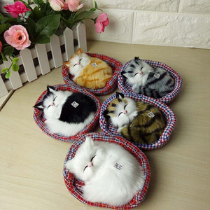 Kawaii Sleeping Plush Simulazione Cats Peluche Bambole animali con suoni Mini Peluche Giocattoli per bambini Regali di Natale Giocattoli per bambole di Natale