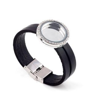 Monili di modo aperto 30mm braccialetto di cuoio genuino nero medaglione galleggiante braccialetto di vetro magnetico fai da te medaglioni galleggianti fascino