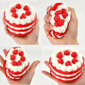 Wholesale- 12CM Random Squishy Strawberry Cake Scented Super Rising Kid Toy Strap