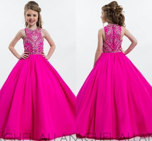 Nationals Interview Dresses Jewel Neckline Sleeveless Crystals Beadings Zipper Back Pageant Dresses Girls Sequins Beading Girls Formal Gowns