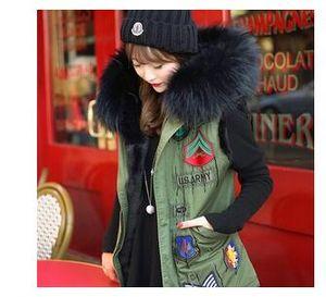 Wholesale-2015 badge logo winter jacket women coat street fashion Large raccoon faux fur collar hooded army green vest plus size outwear