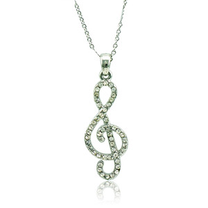 Plata de moda plateó el collar pendiente Rhinestone blanco Music Note Charms Necklace para mujeres Valentines Gifts Jewelry