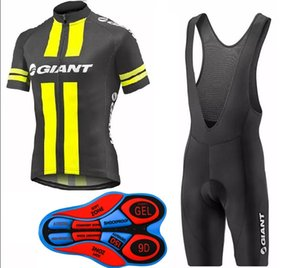 2017 Giant New Cycling jersey+bib shorts set men Fluo yellow and black Bicycle Breathable sportswear cycling jersey Bike Clothing summer