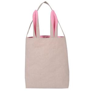 5 Colors Fine Design Easter Bunny Ears Handbag Jute Cloth Material Easter Gift Packing For Child Fine Festival Gift
