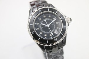 NOUVEAU 38mm grandes montres Top vente chaude montres-bracelets quartz DIAMOND DIAL mouvement femmes céramique montre noir lunette dames de mode montres