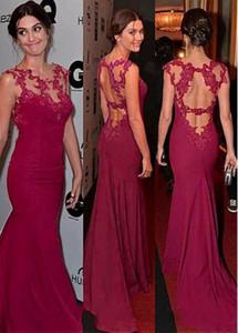 Sexy Hot trou de serrure Backless rouge foncé robes de soirée formelle Celebrity robes longues sirène Sheer Appliqued Décolleté perlé de bal Robes 413