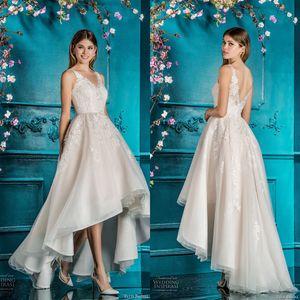 V-neck Front Short Long Back Nude Wedding Dress with Lace Applique High Low Bridal Dress