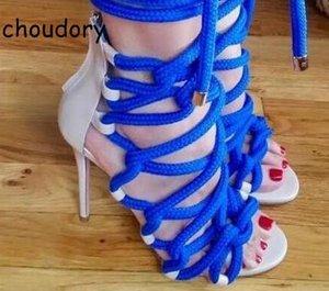 Yeni Stil Roma Tasarlanmış Halat Gladyatör Sandal Boots Çapraz Kayış Yaz Ayak Bileği Patik Ince Yüksek Topuklu Rahat Sokak Bayan Ayakkabıları
