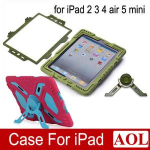 Pepkoo Defender Military Spider Stand Funda protectora a prueba de golpes de suciedad de agua Plástico + Silicona para ipad 2 3 4 iPad Air 2 air iPad Mini Retina