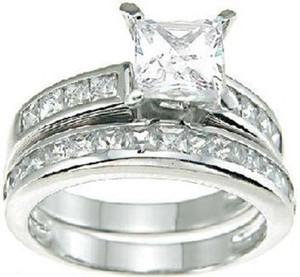 Luxury Size 5-10 10KT Set di anelli di fidanzamento per matrimoni Princess Cut Topaz in oro bianco