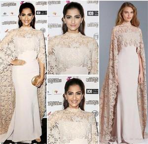 2018 Vintage arabe Paolo Sebastian Robes de soirée détachable Wrap sirène col haut perles de dentelle Red Carpet Celebrity robes de soirée BA0535