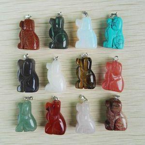 New Mixed natural pedra esculpida cão pingentes moda boa qualidade charme pingente para fazer jóias 12 pçs / lote frete grátis
