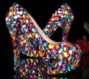 كريستال بريق الأزياء متعدد الألوان أحذية الزفاف السيدات منصة مساء حفل التخرج أحذية ملهى ليلي الرقص اللباس أحذية