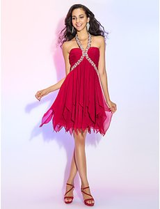 2016 New Discount Hot Charming Burgundy Plus Sizes A-line Princess Halter Crystal Short Mini Chiffon Party Homecoming Cocktail Dresses