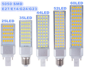E27 E14 G24 G23 SMD bulbo del maíz de 5050 LED Horizontal Plug luces LED de la lámpara 180 degeree 5W 7W 9W 10W 12W 14W 15W 64 LED llevó la iluminación de AC 85-265V