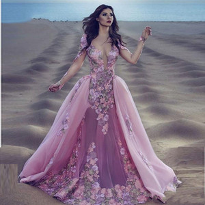 2018 New Sexy Burgundy Pink Lace Long Sleeve Mermaid Gala Prom Dress Detachable Removable Skirt Indian Floral Prom Evening Dresses 252