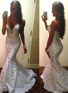 2019 Vestidos De Noiva Платье Wear Милой Кристалл Основные Бисероплетение Русалка Sweep Поезд Саудовская Аравия Luxury выпускного Gowns