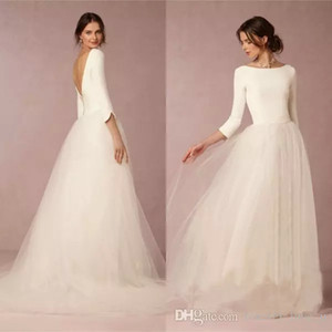Günstige Modest Bohemian Brautkleider A-Linie Satin Top Backless 2020 Brautkleider mit Ärmeln übersichtliches Design Weiche Tüllrock Sweep Zug