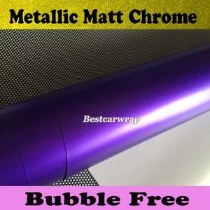 Saten Mor Krom Araba Wrap Vinil Hava Yayın ile krom Mat metalik mor Film Araç Wrap styling Araba çıkartmaları size1.52x20m / Rulo
