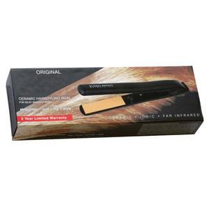 """Listo para enviar En stock Pro 1 """"Cerámica Iónica Turmalina Plancha Plancha de pelo Negro Enchufe de EE. UU. Con caja al por menor"""