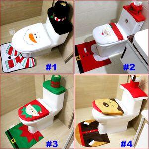 Toilet Seat Covers Christmas Decoration 3 Piece Set Santa Reindeer Bathroom Set Toilet Seat Covers Set Rug Hotel Xmas DHL HH7-1295