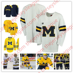 Michigan Wolverines College-Hockey Individuelle # 19 Dylan Larkin 17 Tony Calderone B1G Navy weiß Beliebig Anzahl irgendein Name genähtes Jerseys S-4XL