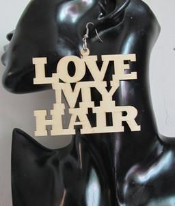 5pairs/lot естественная любовь Мои волосы слово деревянные серьги