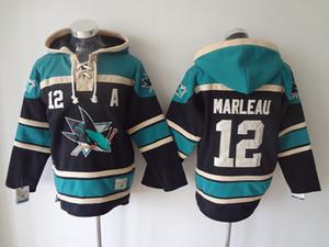 Calidad superior! 100% Stitched San Jose Sharks Old Time Hockey Jerseys 12 Patrick Marleau Hockey sudadera con capucha jersey Chaqueta de invierno